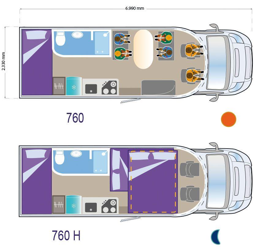 Autocaravana ILUSION XMK 760 H planta-760